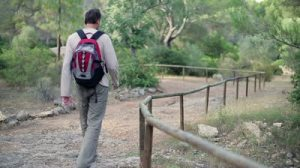 stock-footage-man-with-backpack-walking-in-the-park